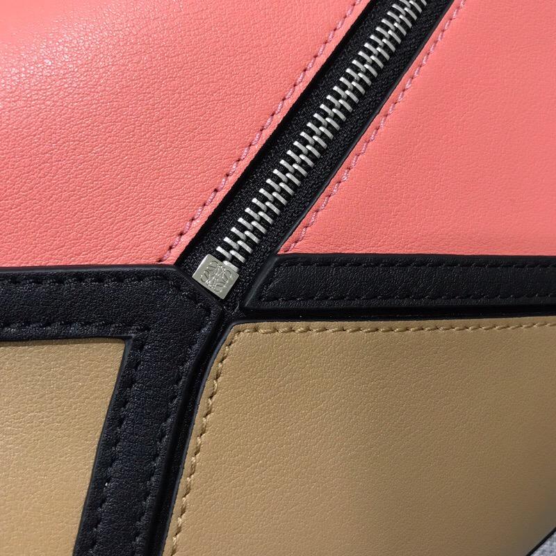 羅意威臺灣官網 LOEWE 拼色 Puzzle Graphic Bag Pink Tulip/Mocca
