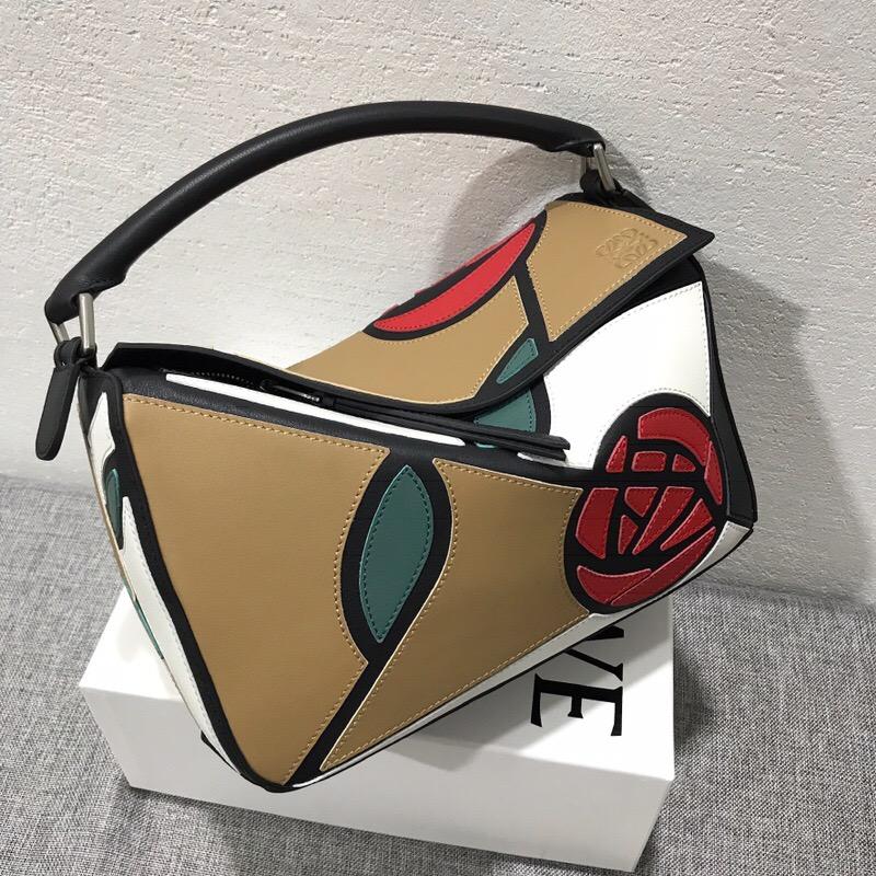 羅意威女包香港官網 LOEWE Puzzle Roses Bag Mocca/Multicolor