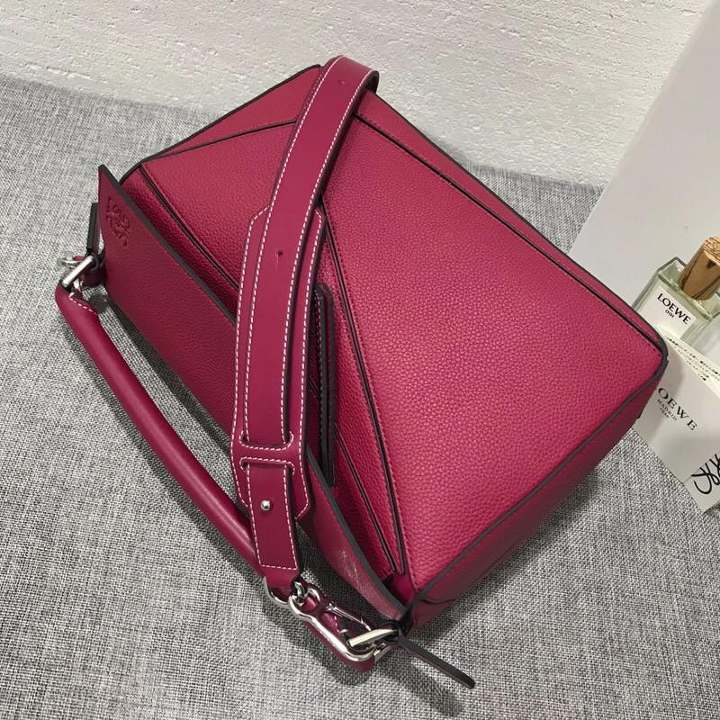 羅意威女包 LOEWE Puzzle Bag 覆盆莓色 紫紅色 進口珠地小牛皮