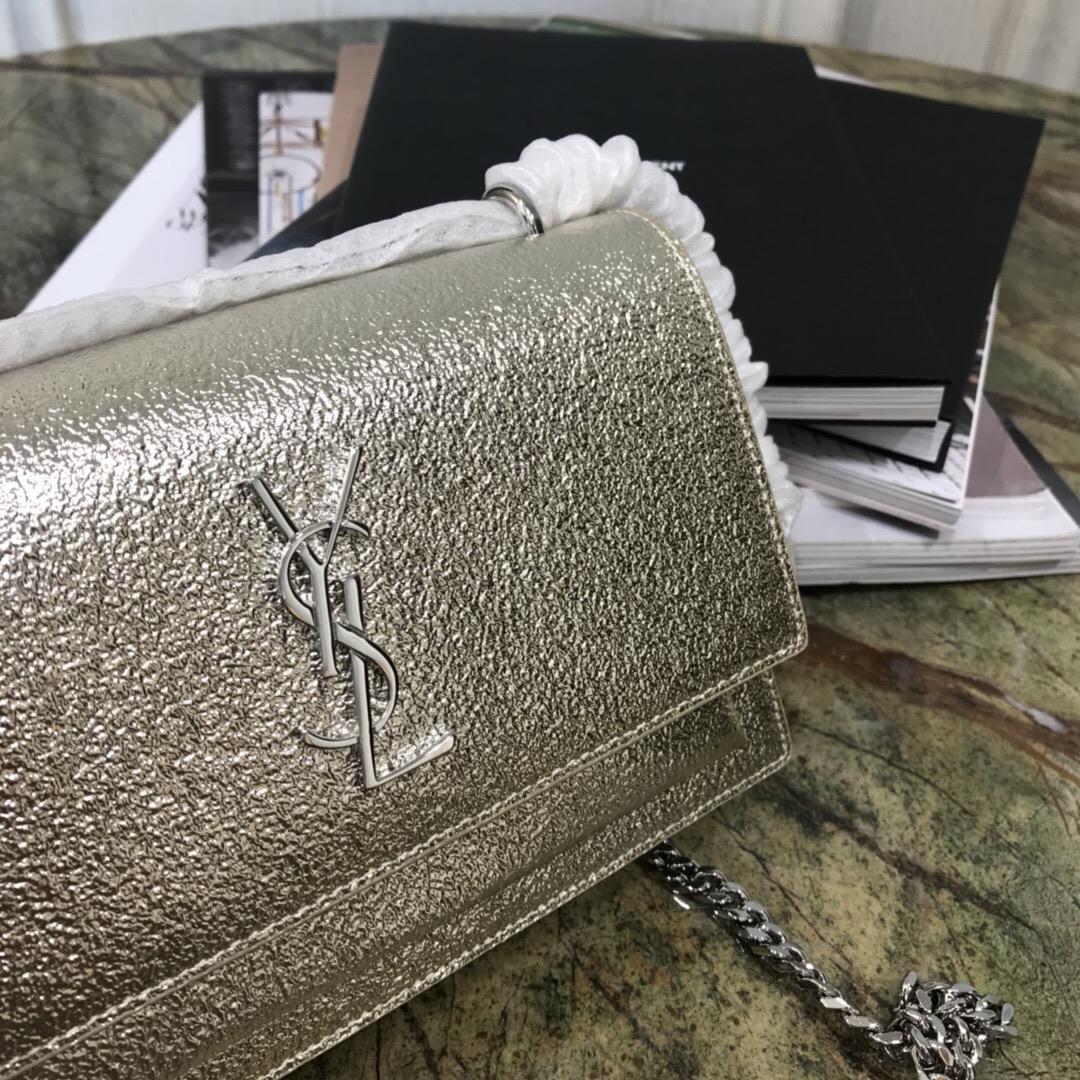 聖羅蘭 YSL mini SUNSET bag 鉆石紋理閃亮真皮鏈條錢包