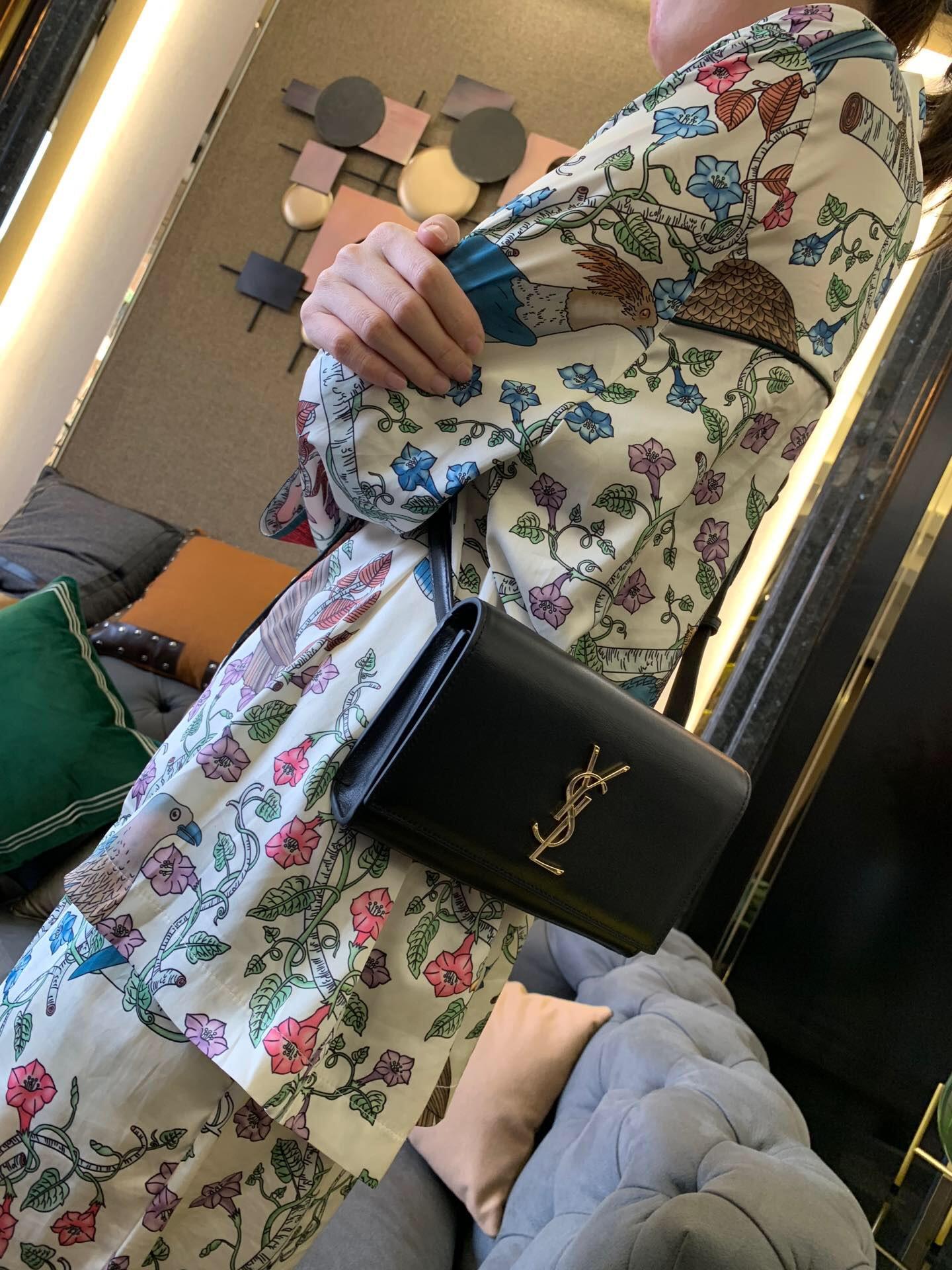 聖羅蘭 YSL包包官網 KATE 黑色小牛皮真皮腰包 534395DV70J1000