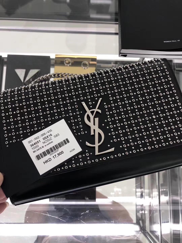 聖羅蘭 YSL女包 2018秋冬新款 KATE 鉚釘時尚元素真皮鏈條包包