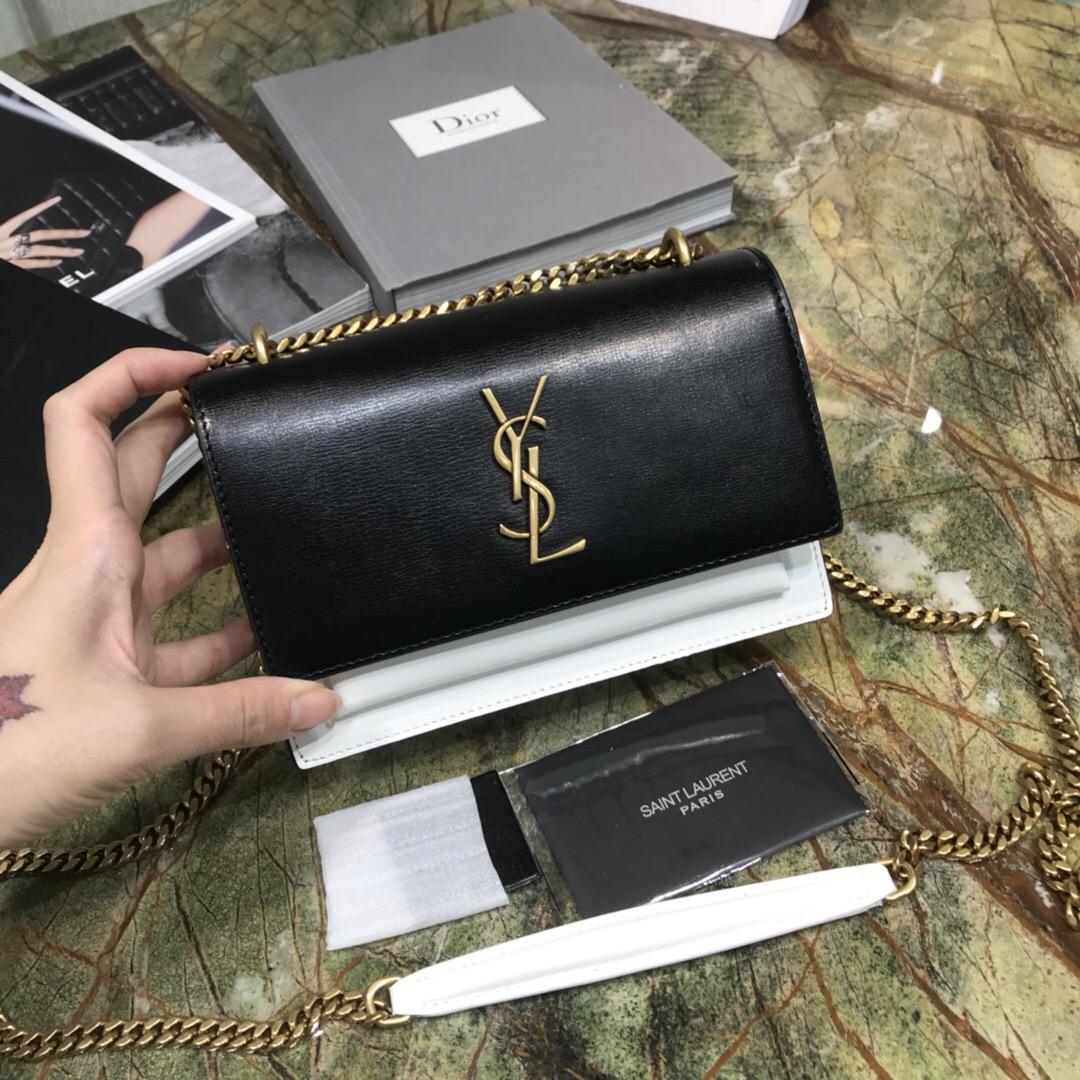 聖羅蘭 最新迷妳款YSL sunset mini bag 黑配白小牛皮牙簽紋链条包
