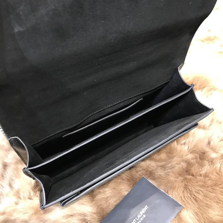 聖羅蘭 YSL SUNSET 中號飾釘黑色小牛皮 真皮麂皮包