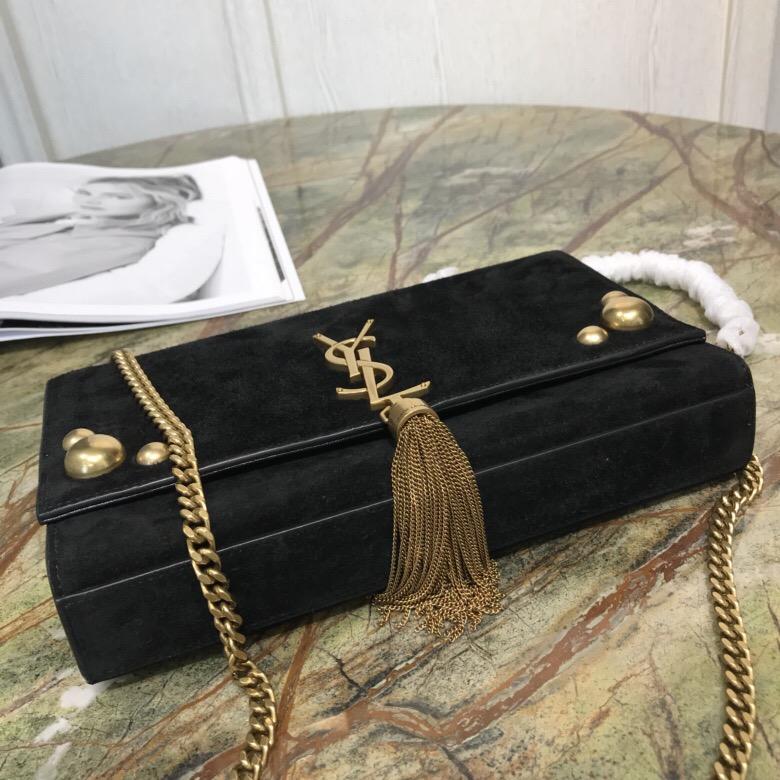 聖羅蘭 YSL包包 KATE 中號飾釘黑色麂皮流苏穗链鏈條包