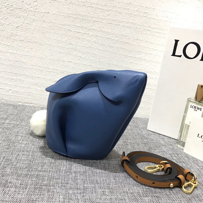 羅意威女包新款 LOEWE Bunny Mini Bag Varsity Blue/Pecan Color