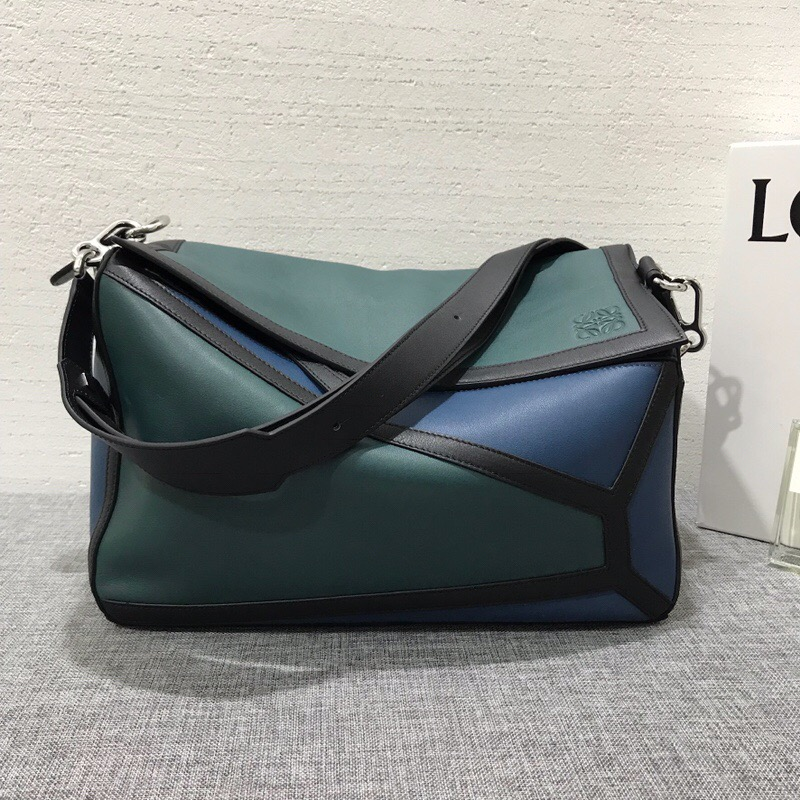 羅意威包包 LOEWE Puzzle Graphic Xl Bag Indigo/Petroleum Blue