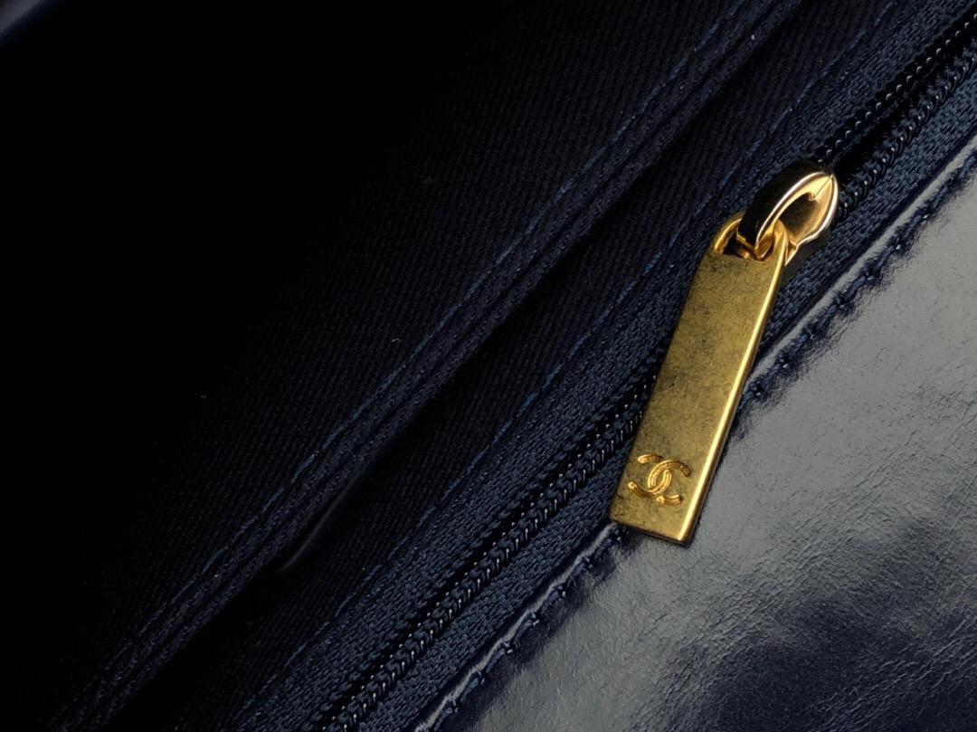 小香口蓋包配手柄 手堤包小號 coco handle bag 寶藍色 油臘小牛皮單肩包