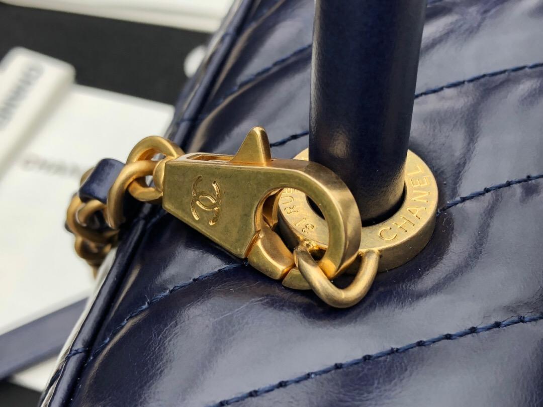 小香口蓋包配手柄 手堤包中號 coco handle bag寶藍色油臘小牛皮