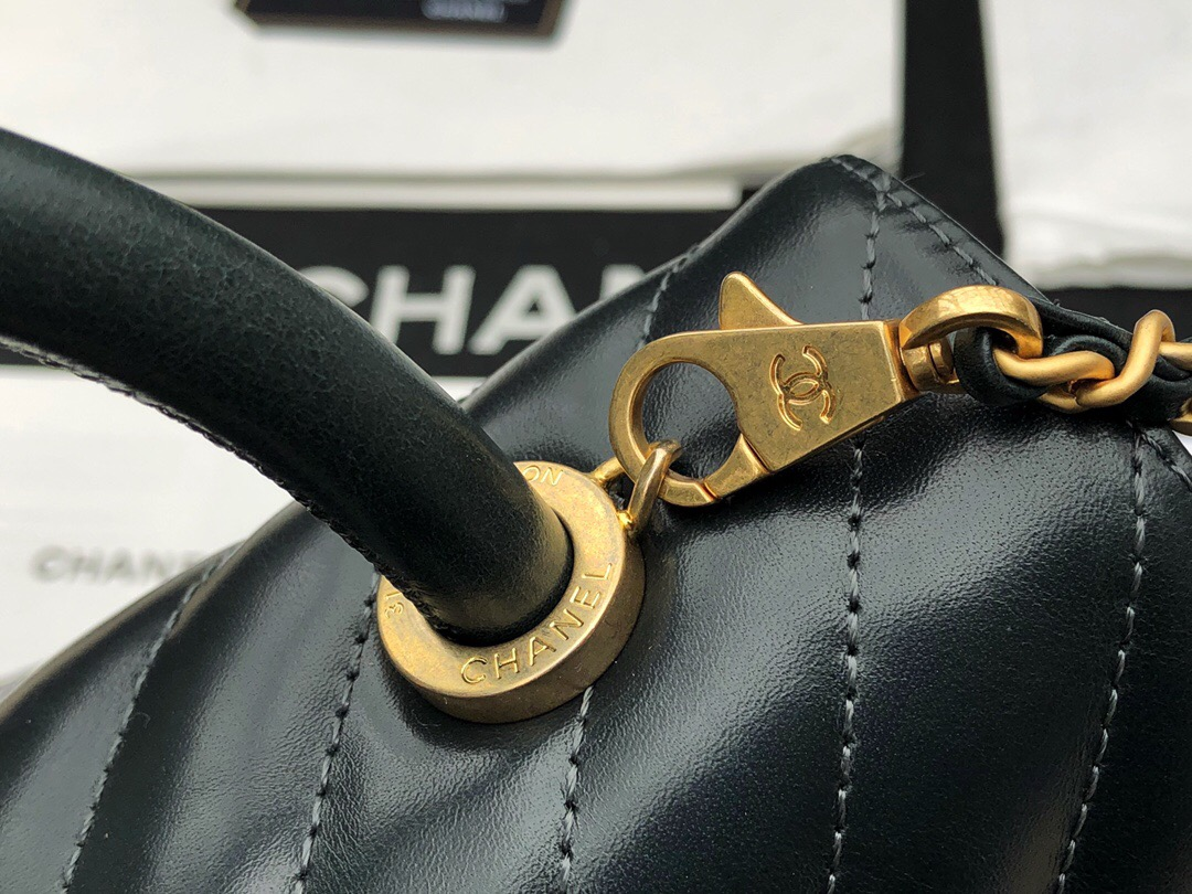 小香口蓋包配手柄手堤包Chanel Coco Handle Bag 祖母綠色油臘小牛皮