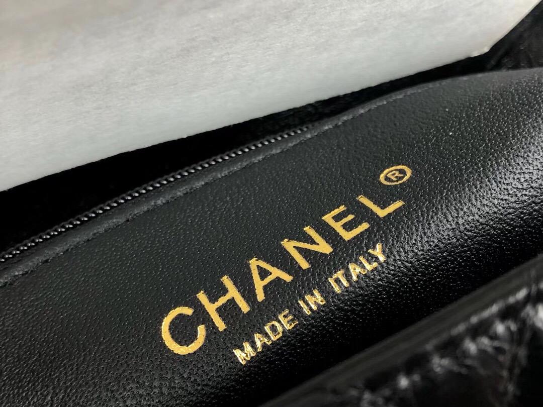 小香女包 口蓋包 配蜥蜴皮手柄小號 Chanel Coco Handle Bag 黑色油臘牛皮