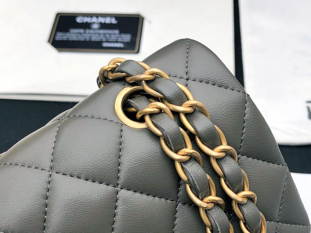 香奈兒包包 Classic Flap Bag 深灰色羊皮菱格鏈條經典口蓋包