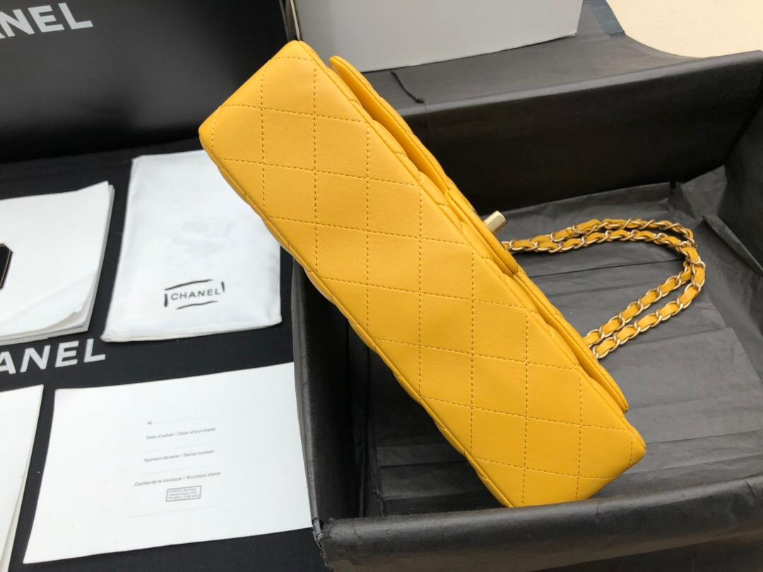 香奈兒包包價格和圖片Classic Flap Bag 芒果黄色羊皮菱格鏈條 口蓋包