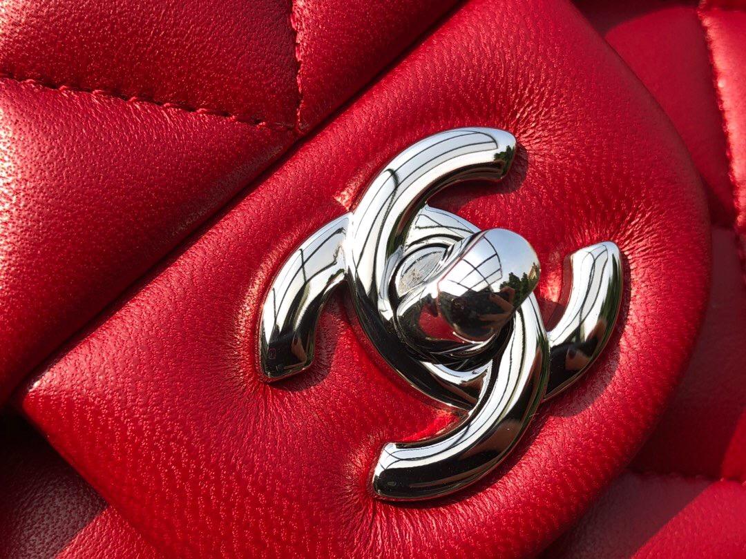 香奈兒包包新款圖片 Classic Flap Bag 大紅色羊皮菱格鏈條 口蓋包 金色金屬