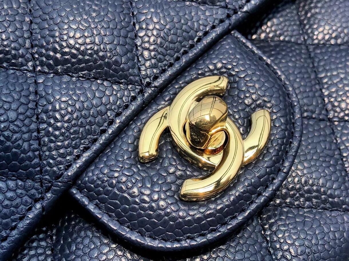 香奈兒經典口蓋包價格 Classic Flap Bag 深藍色 魚子醬小牛皮菱格鏈條包