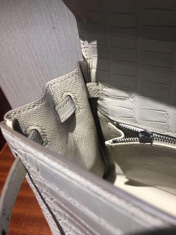 愛馬仕Hermes 凱莉包Kelly 25cm 8L奶油白 霧面方塊 美洲鱷魚金扣