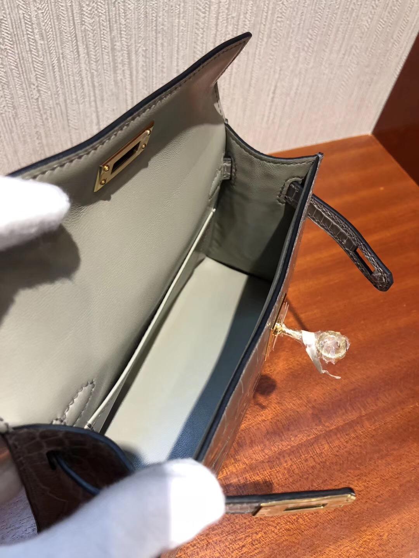 Malaysia HERMES Mini Kelly2代 CK81斑鸠灰 亮面方塊 美洲鱷魚金扣