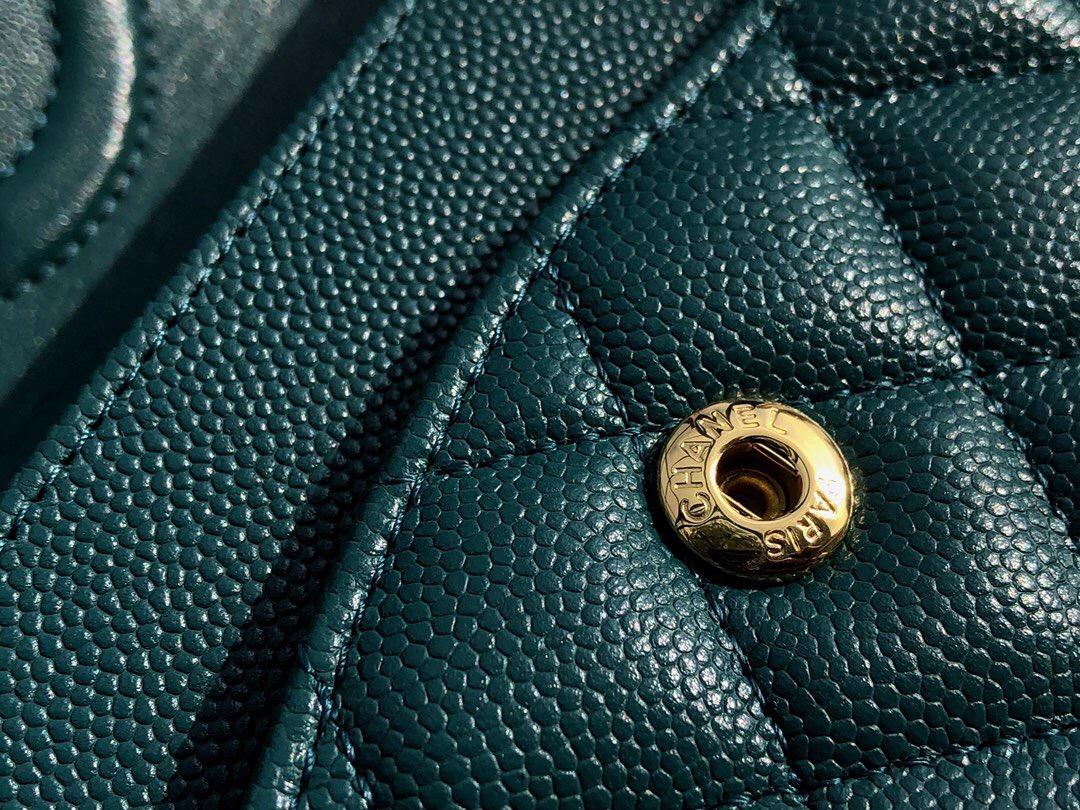 小香 經典口蓋包 Mini Classic Flap Bag 湖水綠色 小牛皮菱格鏈條包