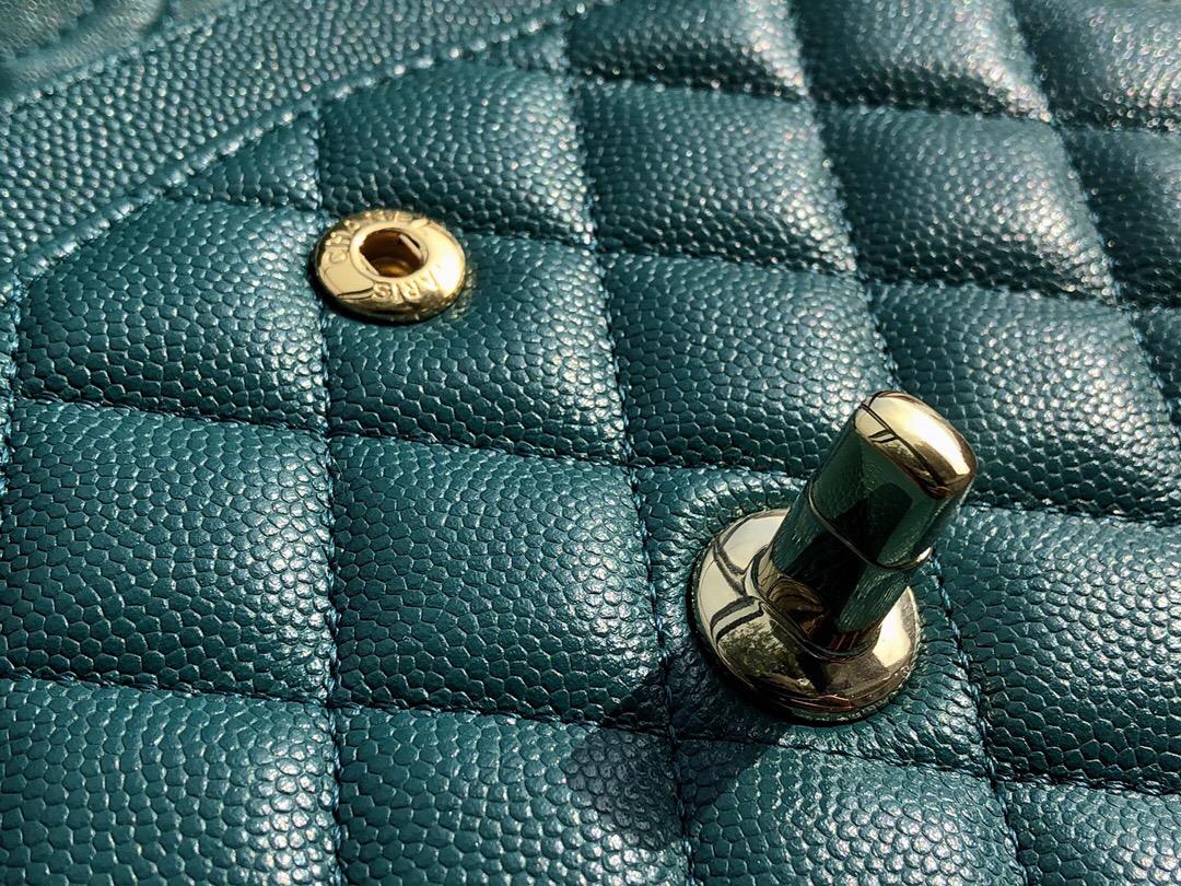 小香經典口蓋包方胖子Small Classic Flap Bag湖水綠色顆粒壓花小牛皮