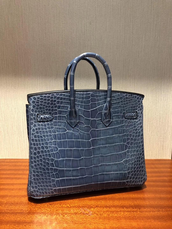 鉑金包尺寸對比 Hermes Birkin 25 Bag  亮面方塊美洲鱷魚 N7風暴藍 金扣