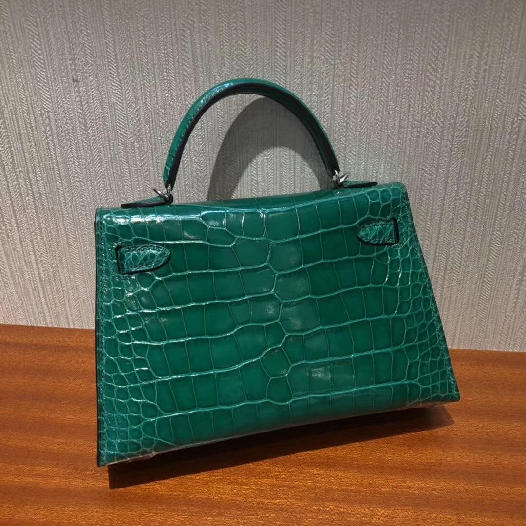 Malaysia HERMES MiniKelly 6Q翡翠綠 亮面方塊美洲鱷魚 銀扣 迷妳二代凱莉包