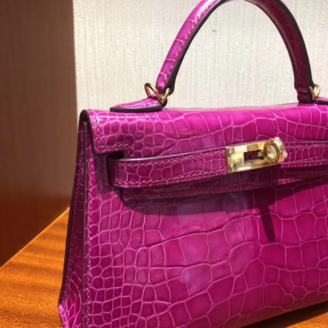 馬來西亞 愛馬仕官網 迷妳二代凱莉包 MiniKelly2代 J5天方夜譚粉紫 美洲鱷魚金扣