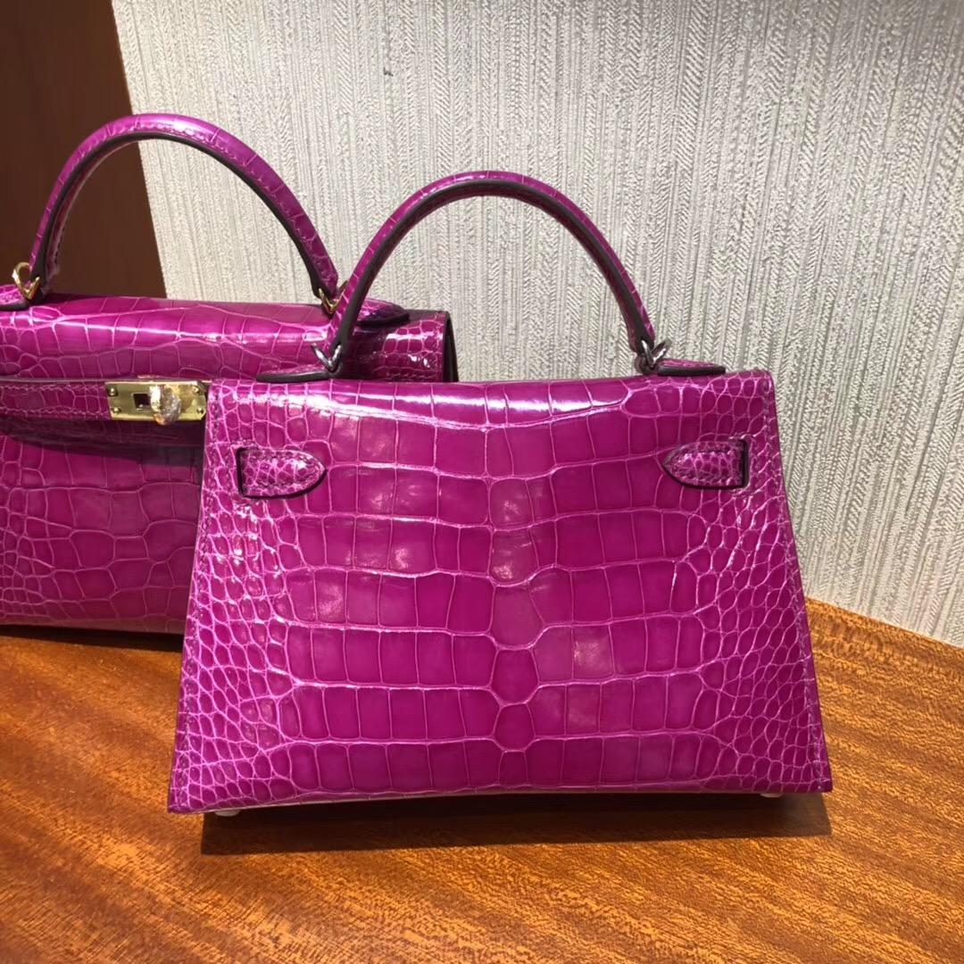 Malaysia HERMES MiniKelly2代 J5天方夜譚粉紫 亮面方塊 美洲鱷魚 银扣