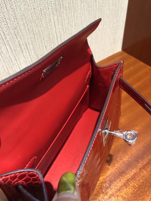 Malaysia HERMES Mini Kelly2代 CK95法拉利紅 亮面方塊 美洲鱷魚 金扣