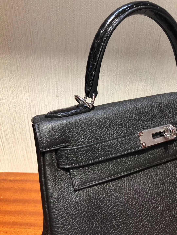 Singapore Hermes 凱莉包Kelly 28 Bag CK89黑色 Togo皮拼手腕亮面鱷魚皮