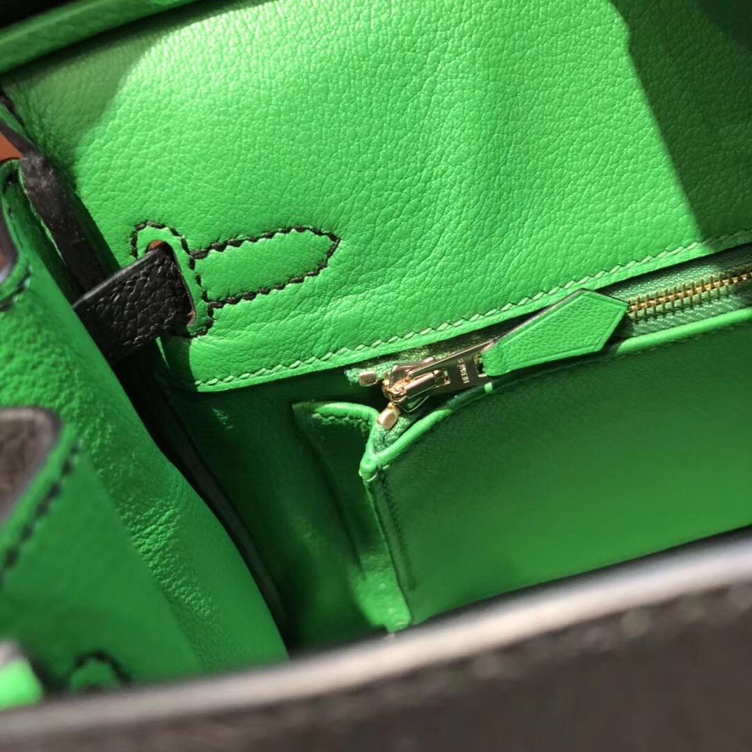 Thailand HERMES Birkin 25 Bag CK89黑色內拼色1K竹子綠 玫瑰金扣