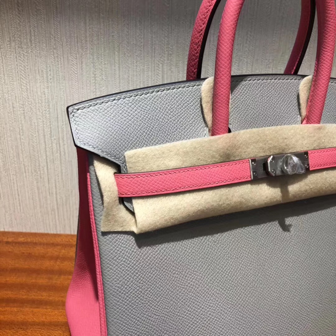 HERMES Malaysia Birkin 25 Bag 4Z海鷗灰拼色 8W唇膏粉Epsom牛皮