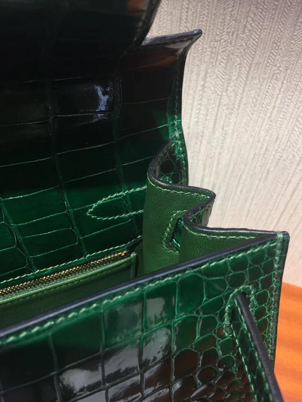 Singapore Hermes Kelly 28cm CK67祖母綠Vert Fonce 亮面倒V 澳洲灣鱷