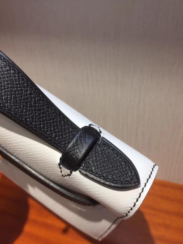 Canada Hermes MiniKelly pochette 22cm Epsom 01純白色/CK89黑色
