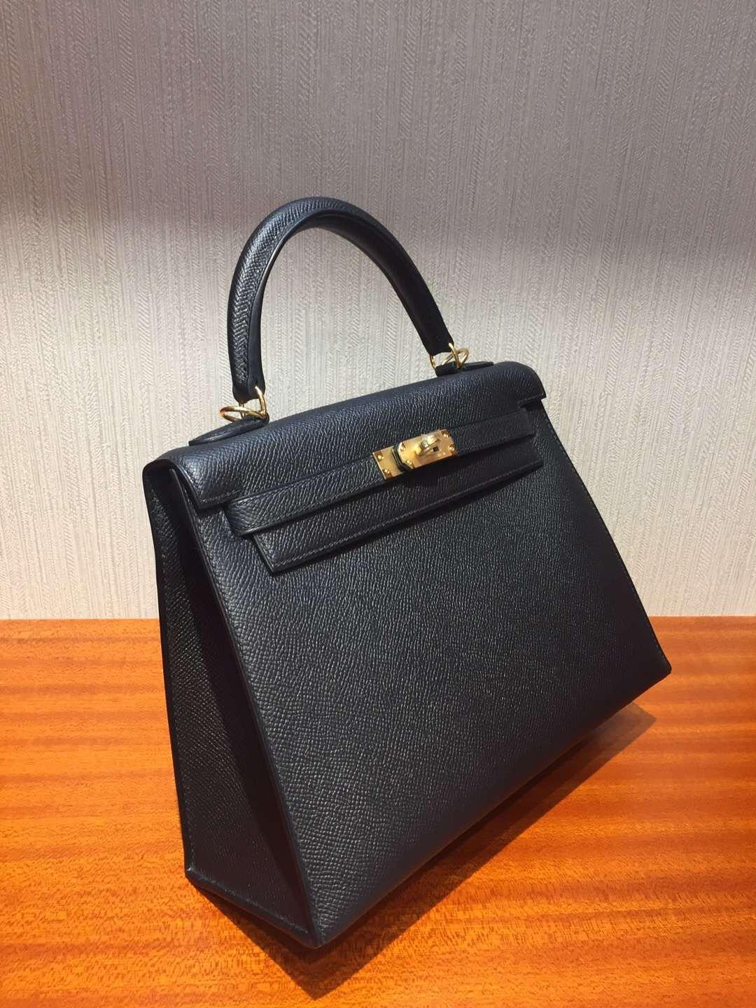Australia Hermes Kelly bag 25cm CK89黑色 Epsom掌紋牛皮 金扣