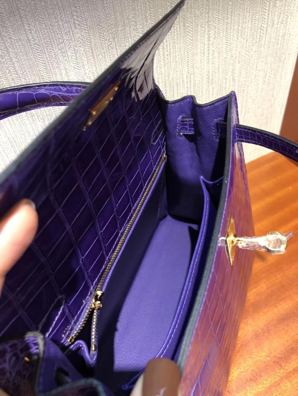 Singapore Hermes Kelly 25cm 9W夢幻紫 亮面兩點尼羅河鱷魚 金扣