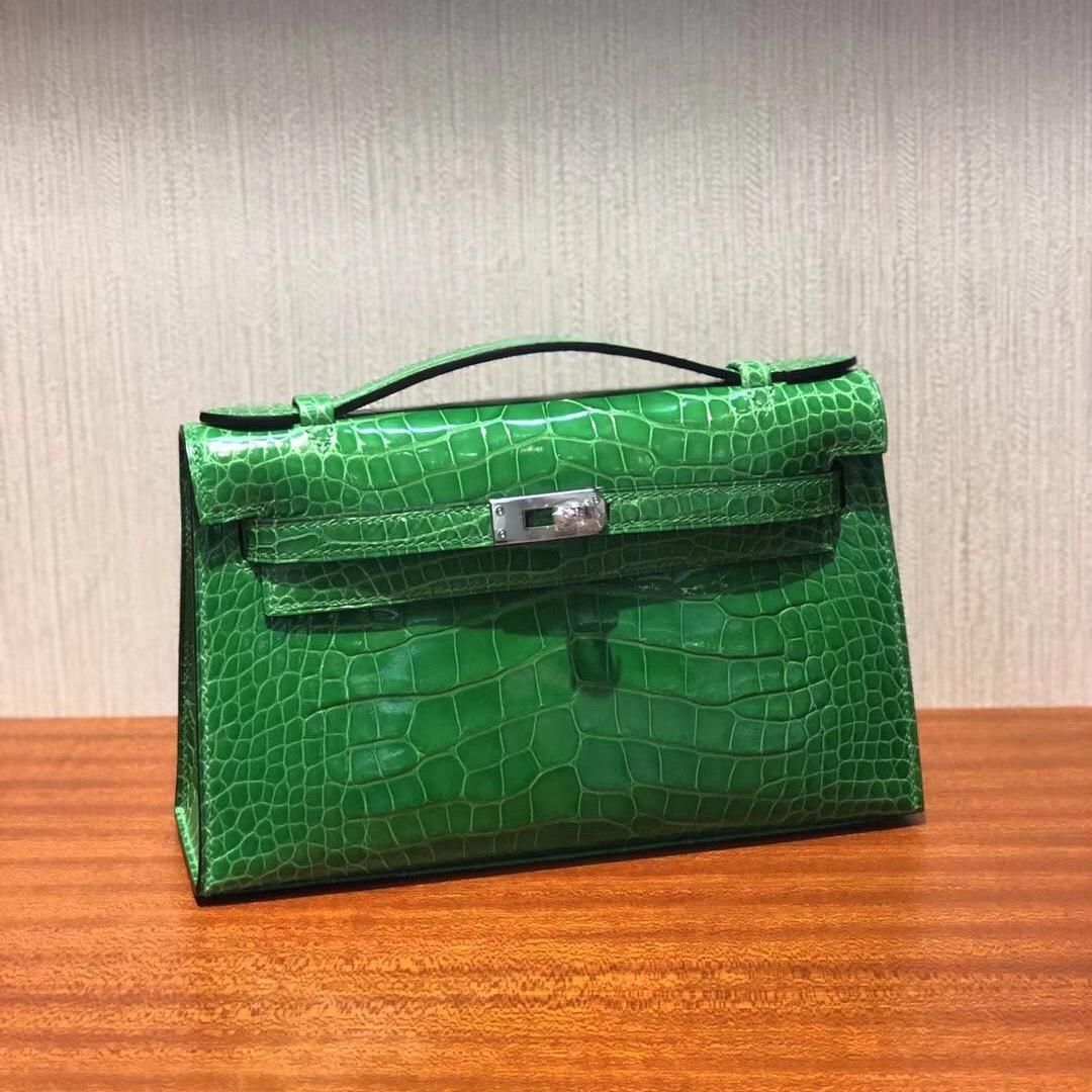 Singapore Hermes Mini Kelly pochette 1L仙人掌綠 亮面方塊鱷魚