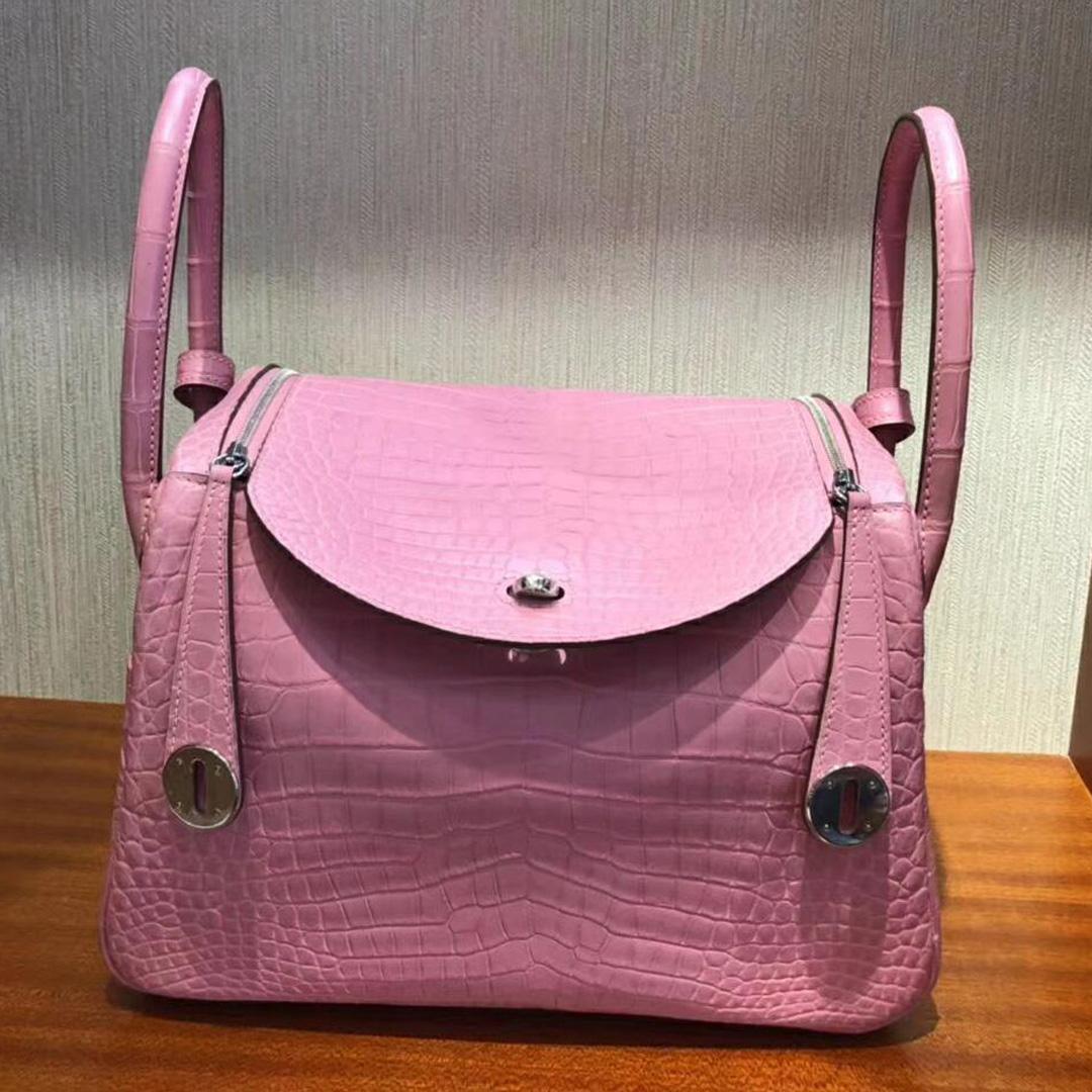 愛馬仕琳迪包官網價格 Hermes Lindy Bag 26 5P Pink 櫻花粉 霧面方塊鱷魚