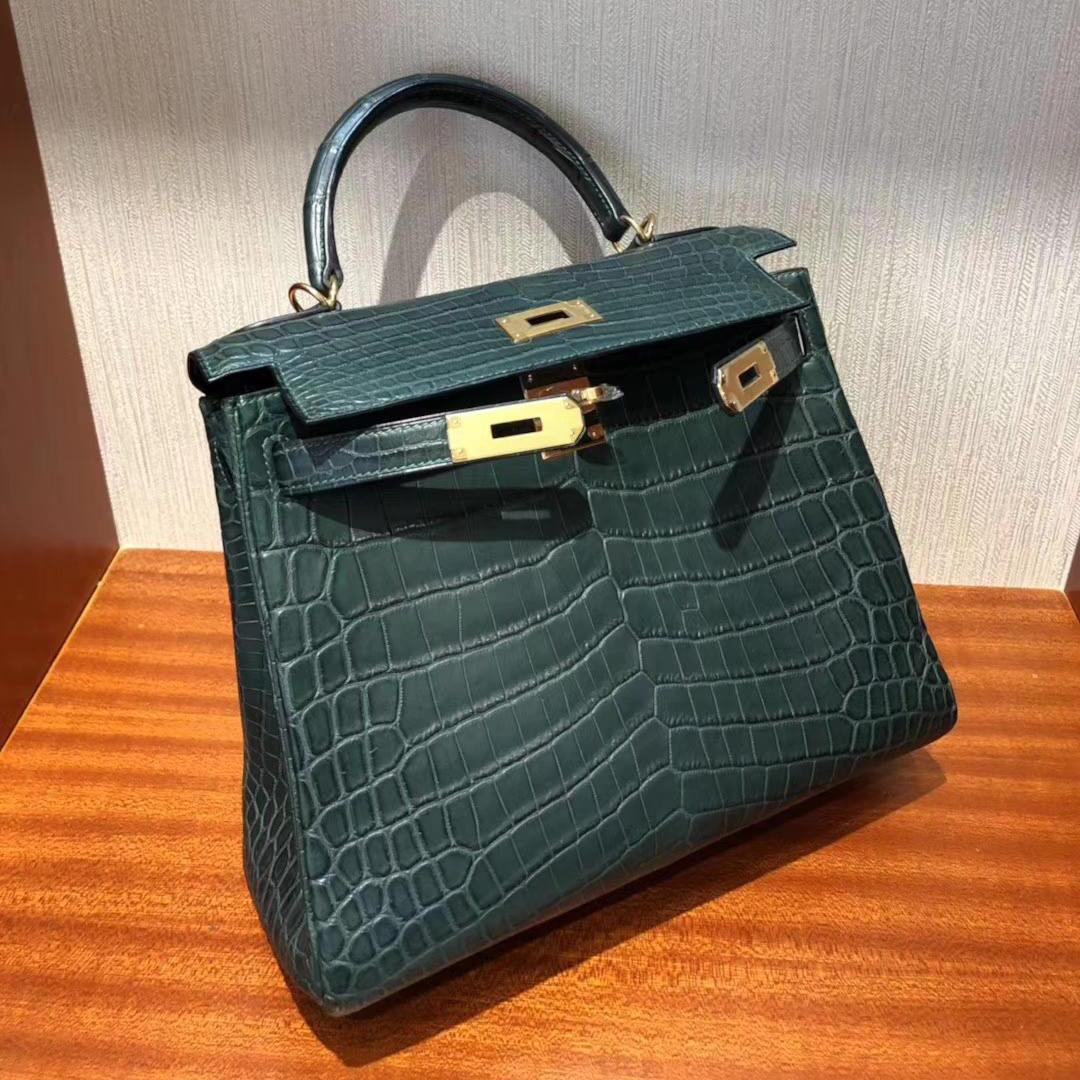 Singapore Hermes Kelly bag 28cm 1T泰坦綠 霧面兩點尼羅河鱷 銀扣