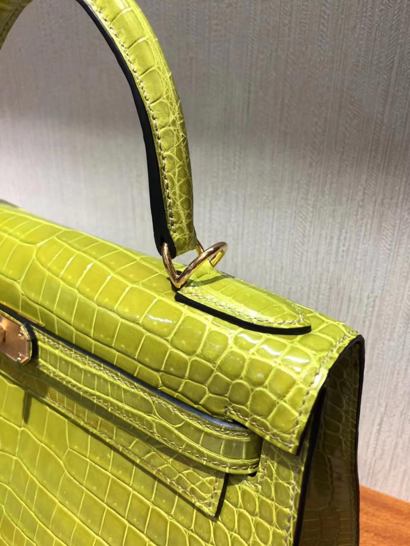 Australia Hermes Kelly bag 28cm 6R奇異果綠 亮面倒V澳洲灣鱷 金扣