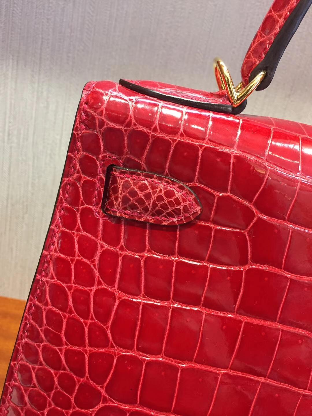Singapore Hermes Kelly Bag28 Q5中國紅Rouge Cossacks亮面倒V澳洲灣鱷