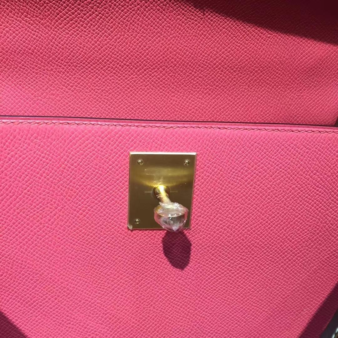 Canada Hermes Kelly bag 25 Epsom皮 8W唇膏粉/C18大象灰 拉絲金扣金屬
