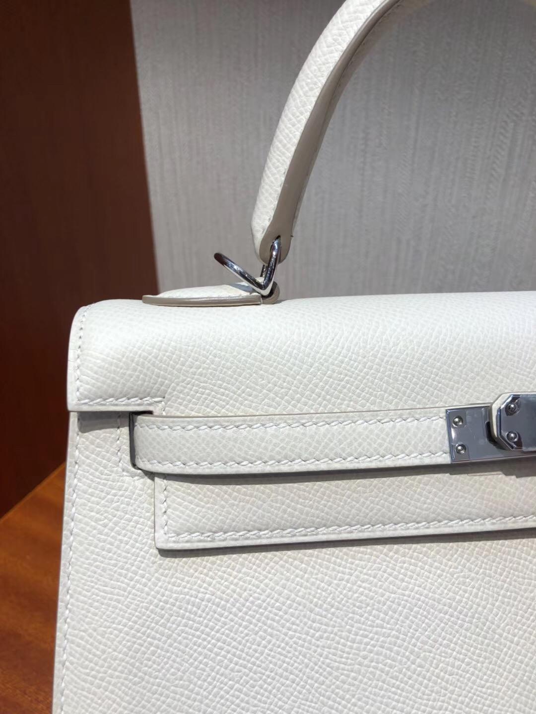 Canada Hermes Kelly bag 25 CK10奶昔白 Epsom牛皮 银扣