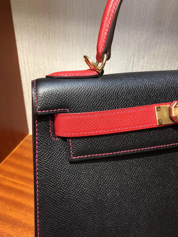 Australia Hermes kelly Bag 28cm Epsom CK89黑色/Q5國旗紅 金扣