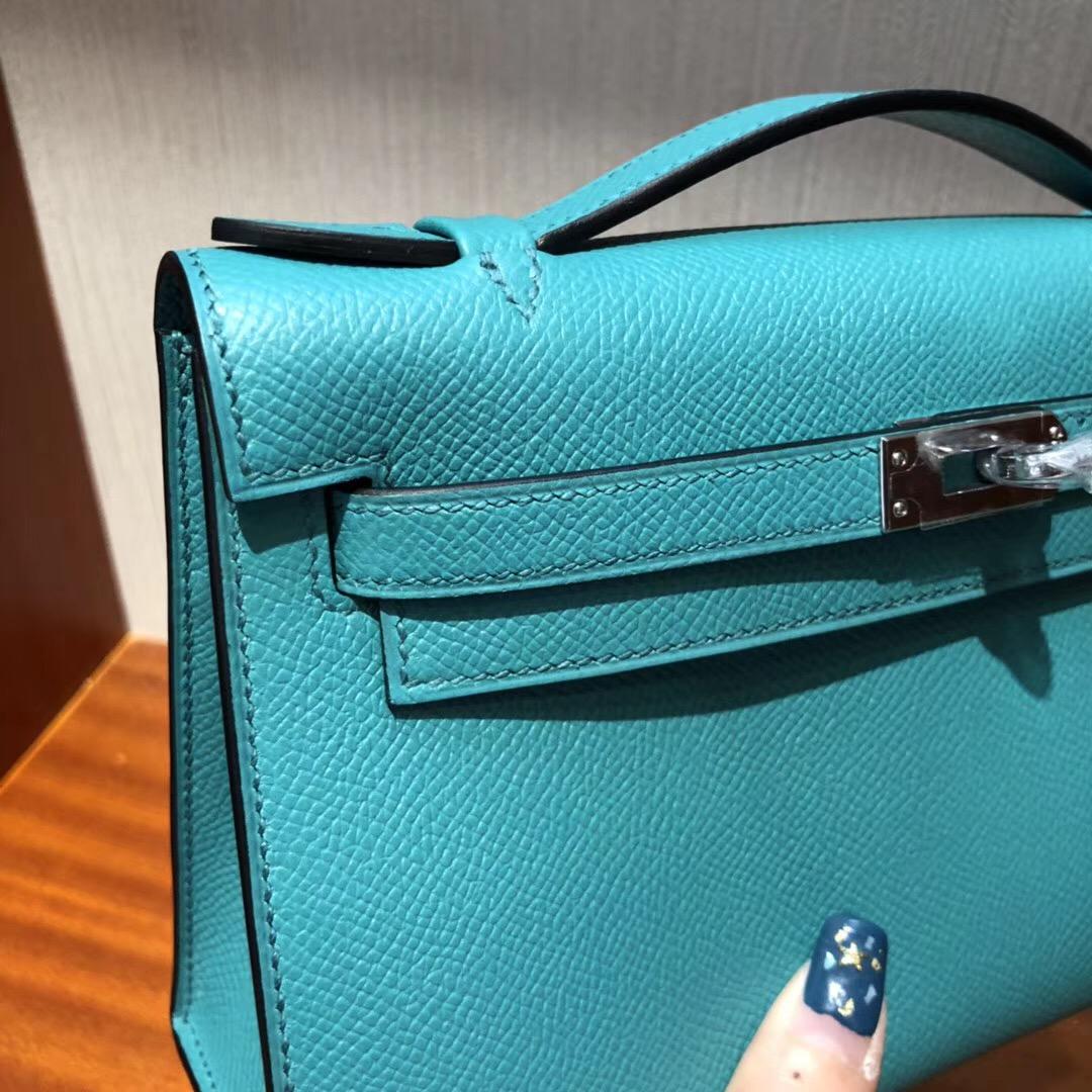 Australia Hermes MiniKelly pochette 22cm 7F孔雀藍 Epsom皮 銀扣