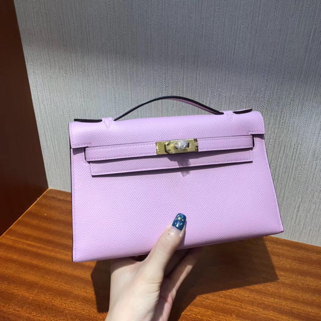 Australia Hermes MiniKelly pochette 4W Glycine新淺紫藤色Epsom牛皮 金扣
