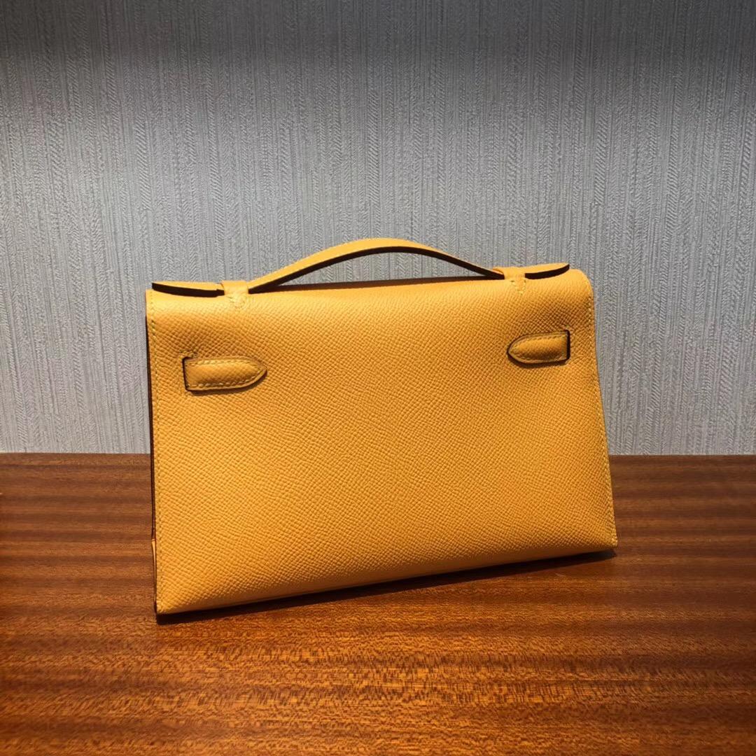 Australia Hermès MiniKelly pochette 22cm 9V太陽黃 Epsom皮 金扣