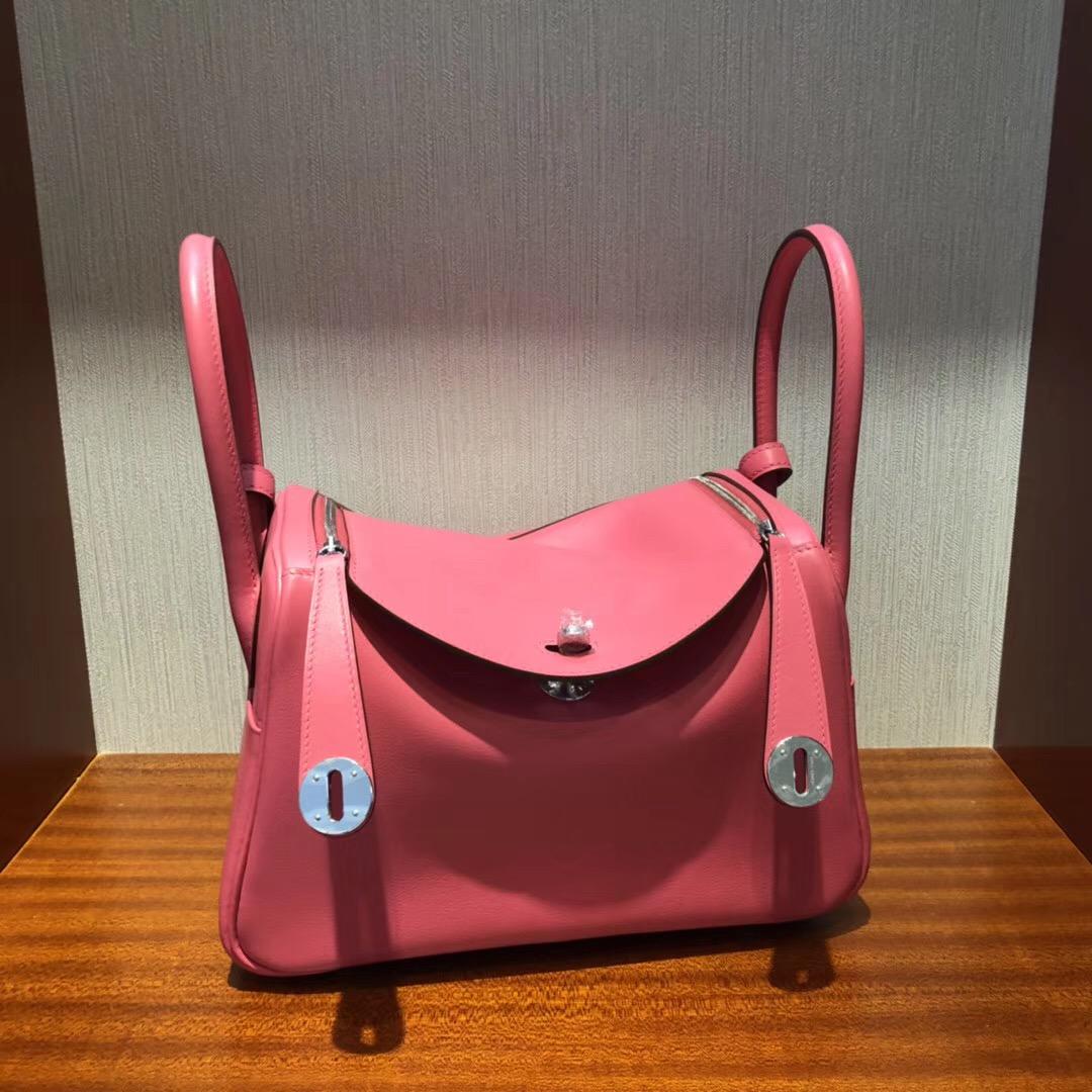 Singapore Hermes lindy 26 bag 8W Rose Azalee Swift calfskin 皮