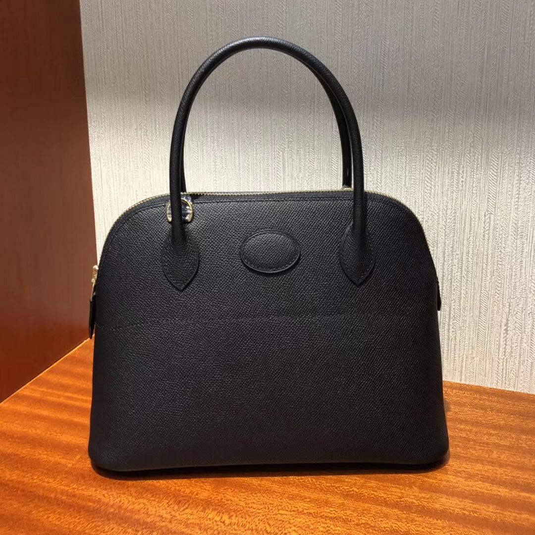 臺灣愛馬仕寶萊包Hermes bolide Handbags 27cm CK89黑色Epsom牛皮