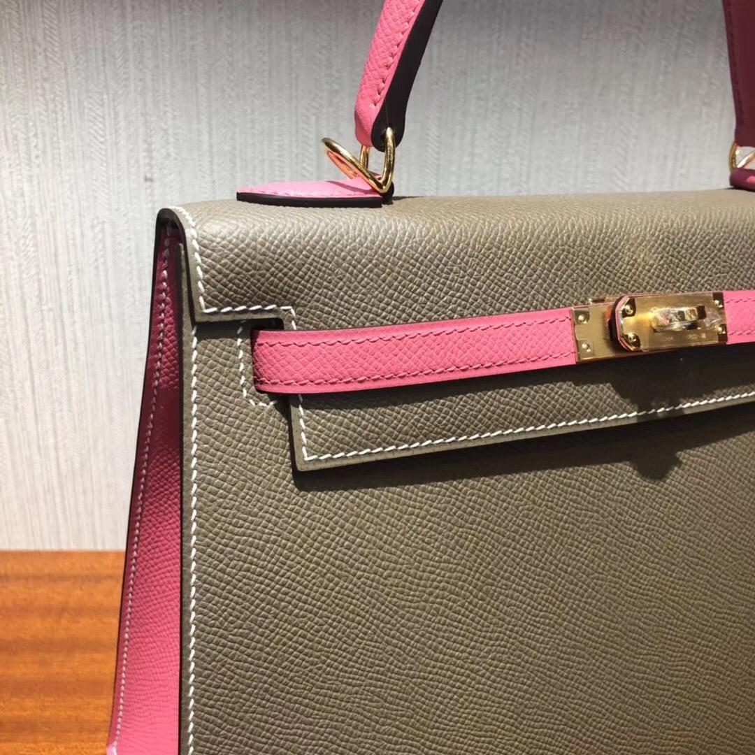 Malaysia Hermes Kelly Bag 25cm Epsom CK18大象灰/8w新唇膏粉金扣
