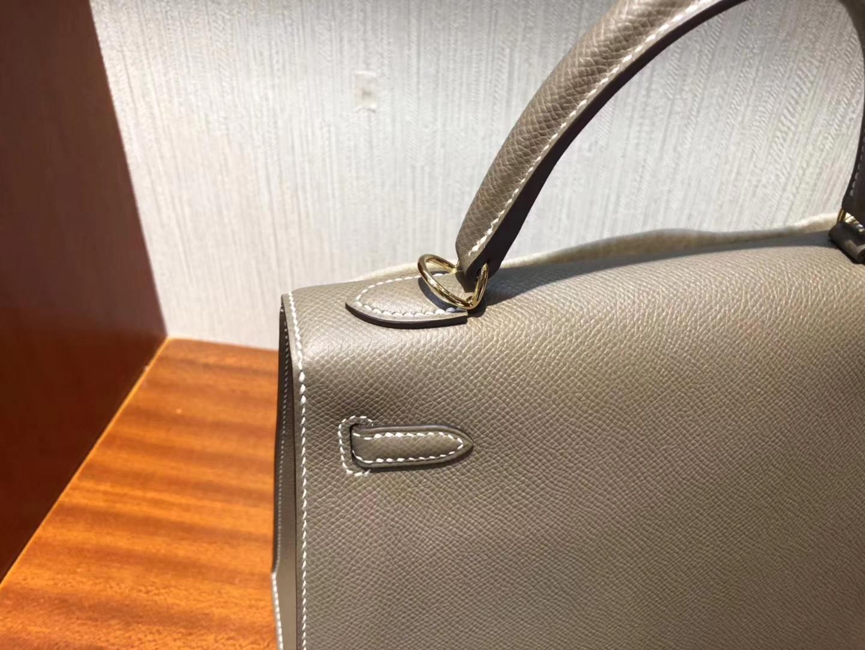 Australia Hermes Kelly bag 25cm CK18大象灰Etoupe Epsom牛皮 金扣